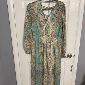 Long Sleeve Boho Maxi Dress - size 8